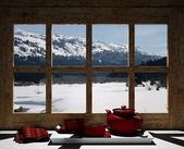 Wooden window overlook the snowy mountains — Stock Photo