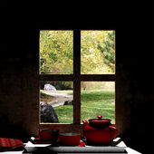 Wooden window overlook autumn scene — Stock Photo