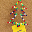 Christmas tree made of colorful pushpins  — Stock Photo