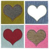 Textile herz-collage — Stockfoto