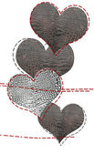 Love card of leather hearts — Stock Photo