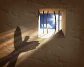 Gevangenis venster. vrijheid concept — Stockfoto