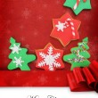 Christmas card with cookies on fabric background — Stock Photo #18855249