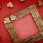 Wooden love frame — Stock Photo