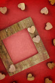Wooden love frame — 图库照片