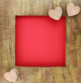 Wooden love frame — Stock Photo