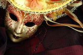 Vintage carnival mask on black background — Stock Photo