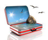 Summer vacation concept. Travel suitcase with seascape inside — Stock Photo