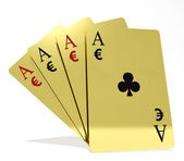 Four aces playing cards suits with money symbols — Stock Photo