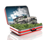 An ancient monastery of meteora, Greece in a travel suitcase — Stock Photo