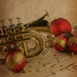 Christmas music on vintage background — Zdjęcie stockowe