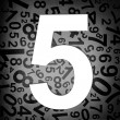 Number five on fabric texture background — Foto de Stock