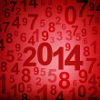New year 2014 on numbers fabric background — Stock Photo