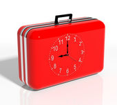 Vacation time. Red travel suitcase with clock — Stock Photo