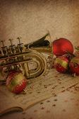 Christmas music on vintage background — Zdjęcie stockowe
