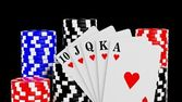 Casino chips and a royal straight flush playing cards poker hand — Stock Photo