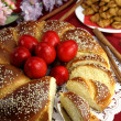 Easter sweet bread with red eggs — Stock Photo #20821873