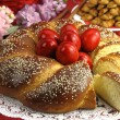 Stock Photo: Easter sweet bread with red eggs