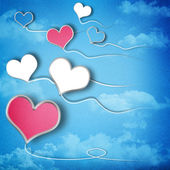 Valentines day background with heart shaped kites in the sky — Stock Photo