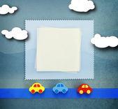 Dziecko karta na niebieskim tle — Zdjęcie stockowe