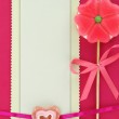 Flower-Heart lollipop and paper greeting card — Stock Photo