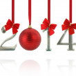 2014 calendar ornaments hanging on red ribbons — Stock Photo