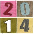 Textile numbers new year 2014 — Stock Photo
