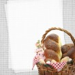 Easter sweet bread in a basket with blank paper recipe card — Stock Photo #22267471