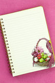 Easter Basket painting on blank notebook page — Stock Photo