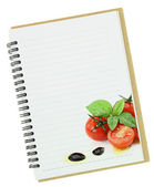 Recipe book. Fresh basil and cherry tomatoes painting on blank notebook page — Stock Photo