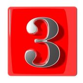 Number three icon — Stock Photo