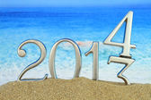 Nouvel an 2014 sur la plage — Photo