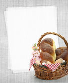 Easter sweet bread in a basket with blank paper recipe card — Stock Photo