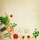 Modelo de receita. legumes frescos na textura da tela — Foto Stock