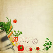 Recipe template. Fresh vegetables on fabric texture — Stock Photo