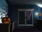 Strašidelné temné místnosti na deštivé noci halloween — Stock fotografie