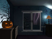 Eng donkere kamer op halloween regenachtige nacht — Stockfoto