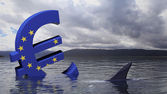 Euro symbol with European union flag sinking in the water — Stock Photo
