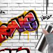 Love graffiti on brick wall - Stock Photo