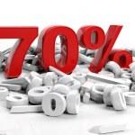 3D Rendering of a seventy percent symbol — Stock Photo #24728241