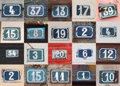 Collage of weathered house numbers on the wall — Stock Photo