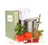 Cookbook, vegetables and casserole isolated on white — Stock Photo
