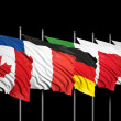 Flags of G8 members on black background — Stock Photo