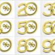 Stock Photo: Group of numbers with percent symbol