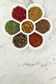 White porcelain bowl with spices — Stock Photo