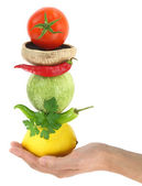 Balanced diet with vegetables — Stock Photo