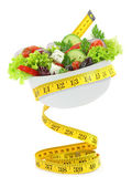 Balanced diet with salad — Stock Photo