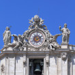 Clock of St. Peter's cathedral in Vatican city — Stock Photo