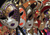 Group of Vintage venetian carnival masks — Stock Photo