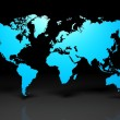 Earth world map on black background — Stock Photo